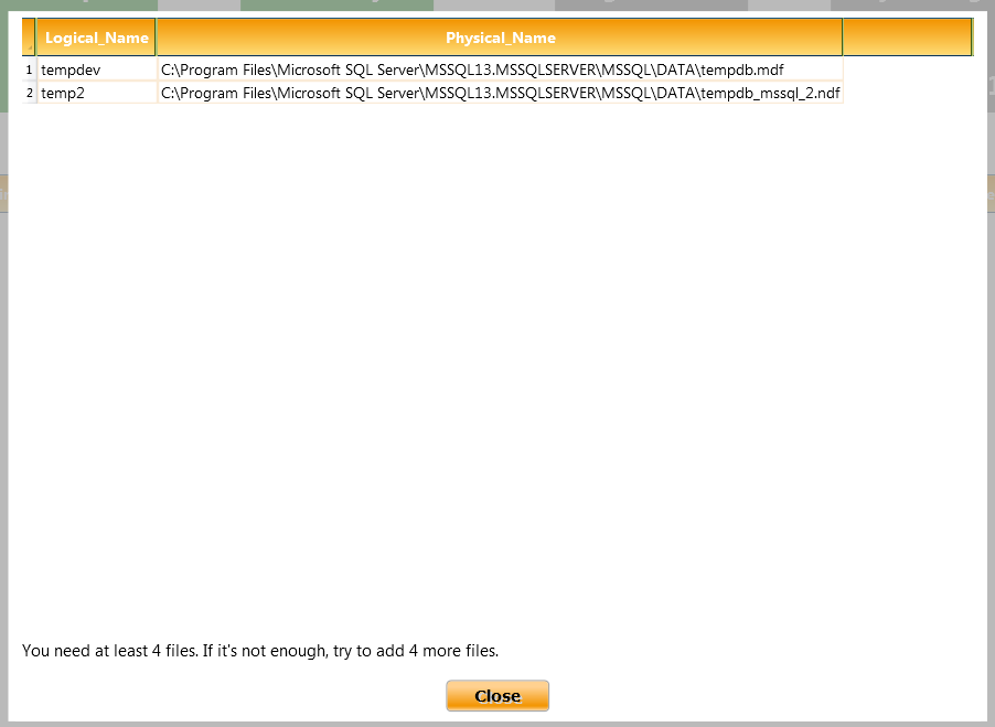 tempdb file count